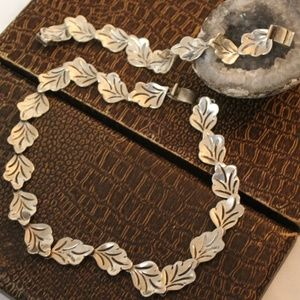 VTG TAXCO MEXICO STERLING LEAF LINK NECKLACE SET